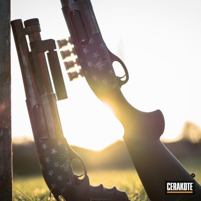 Cerakoted: Bright White H-140,NRA Blue H-171,Battleworn,Shotgun,Super Shorty,Graphite Black H-146,USMC Red H-167,America,American Flag,NFA Items,Pump-action Shotgun
