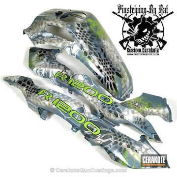 Cerakoted H-201 Mcmillan Grey With H-146 Graphite Black, H-168 Zombie Green And H-140 Bright White