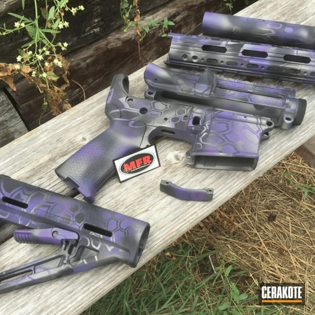 Smaller version of the 7th project picture. Graphite Black H-146Q, Stainless H-152Q, Tactical Rifle, Wild Purple H-197, Tungsten H-237Q, Purple dragon