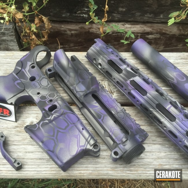 Smaller version of the 8th project picture. Graphite Black H-146Q, Stainless H-152Q, Tactical Rifle, Wild Purple H-197, Tungsten H-237Q, Purple dragon