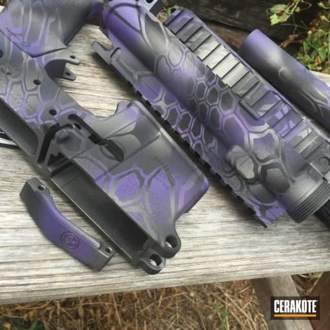 Smaller version of the 9th project picture. Graphite Black H-146Q, Stainless H-152Q, Tactical Rifle, Wild Purple H-197, Tungsten H-237Q, Purple dragon