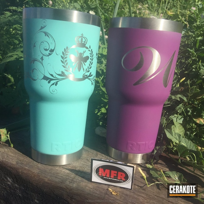 Big version of the 1st project picture. Yeti Cup, Yeti, Robin's Egg Blue H-175Q, Wild Purple H-197, RTIC, Custom Design, RTIC Cups