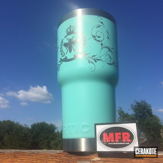 Big version of the 5th project picture. Yeti Cup, Yeti, Robin's Egg Blue H-175Q, Wild Purple H-197, RTIC, Custom Design, RTIC Cups