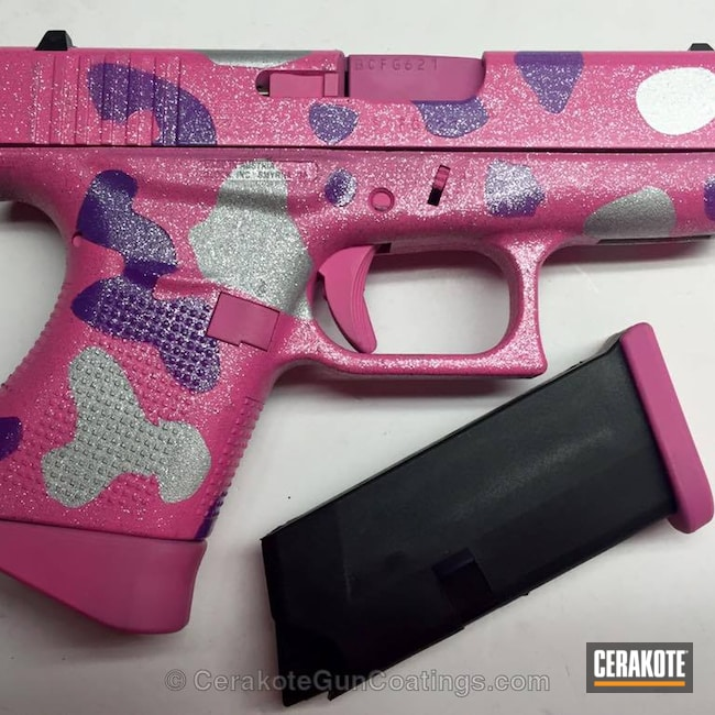 Smaller version of the 1st project picture. Glock, 9mm, Pink Camo, Bright Nickel H-157Q, Wild Purple H-197, Sparkles, Glock 43, Bazooka Pink H-244Q