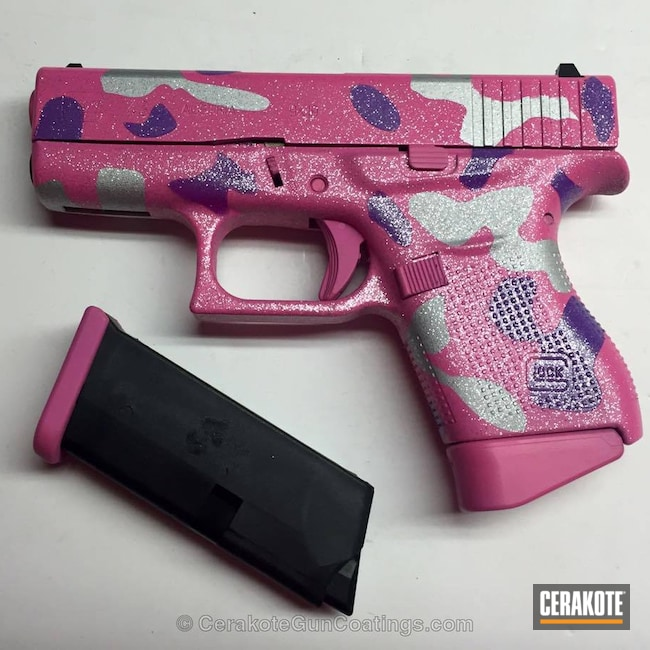 Mobile-friendly version of the 3rd project picture. Glock, 9mm, Pink Camo, Bright Nickel H-157Q, Wild Purple H-197, Sparkles, Glock 43, Bazooka Pink H-244Q