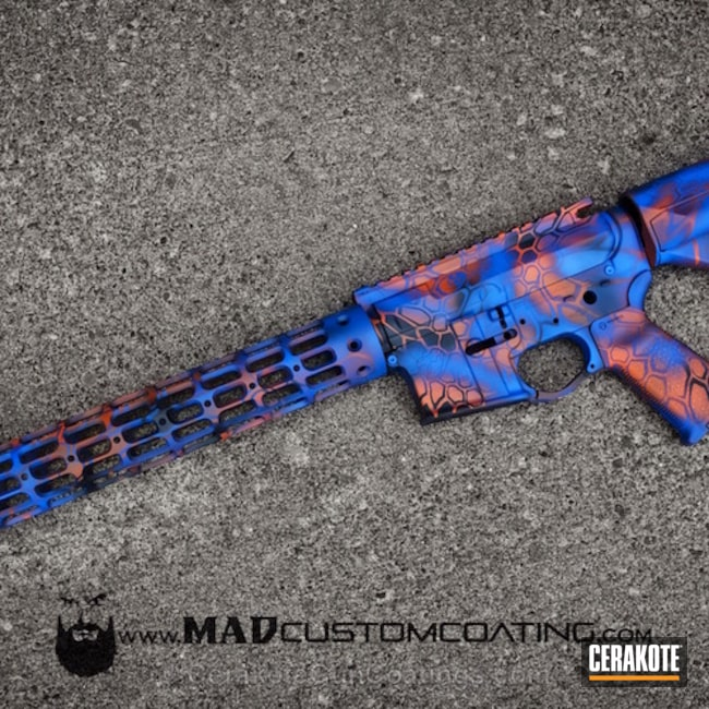 H-171 NRA Blue with H-128 Hunter Orange and H-146 Graphite Black
