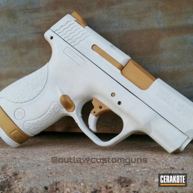 Cerakoted: Snow White H-136,Smith & Wesson,Pistol,Handguns,Gold H-122,M&P Shield