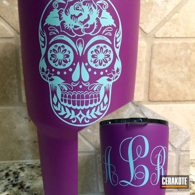 Thumbnail version of the 2nd project picture. Not Just Guns, Sugar Skull, Cups, Bright Purple H-217Q, Robin's Egg Blue H-175Q, Mug, Tumbler