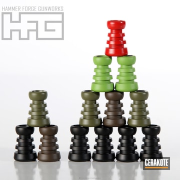 Cerakoted H-146 Graphite Black, H-167 Usmc Red, H-168 Zombie Green, H-226 Patriot Brown, H-189 Noveske Bazooka Green And H-240 Mil Spec O.d. Green