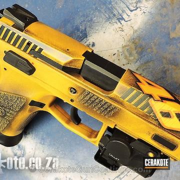 Cerakoted H-126 Dewalt Yellow With H-128 Hunter Orange And H-146 Graphite Black