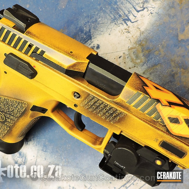Cerakoted: Custom Mix,Distressed,CZ P-07,Pistol,Valentino Rossi,9mm,Battleworn,Graphite Black H-146,Clear Coat,CZ-USA,Czech,Hunter Orange H-128,Handguns,DEWALT YELLOW H-126,No 46,MotoGP