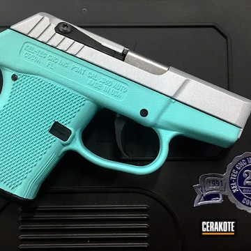 Cerakoted H-175 Robin's Egg Blue And H-255 Crushed Silver