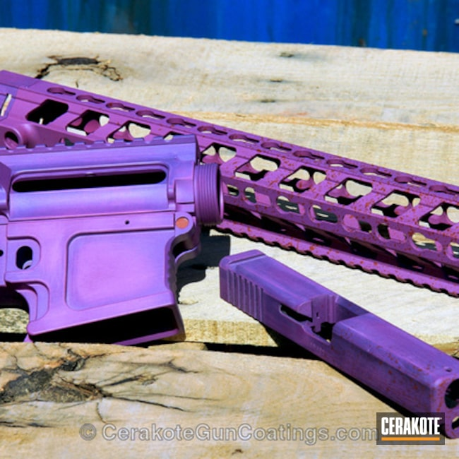 Smaller version of the 1st project picture. Mega Arms, Gun Parts, Bright Purple H-217Q, Wild Purple H-197, Upper / Lower, Glock 17 Slide, ALG Rail