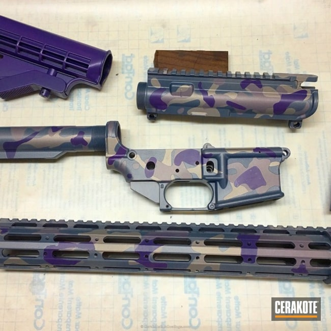 Mobile-friendly version of the 1st project picture. Gun Parts, MultiCam, AR-15, Ladies, Bright Purple H-217Q, Shimmer Gold H-153Q, Shimmer Aluminum H-158Q