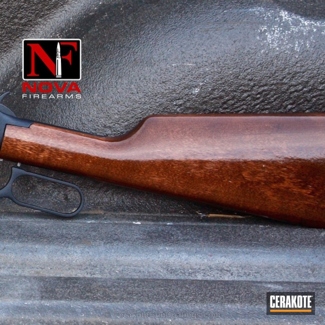Cerakoted: Rifle,Midnight Blue H-238,Blued,Hunting Rifle,Clear Coat,Lever Action