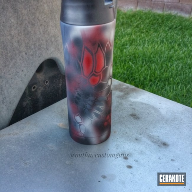 Cerakoted: coffee cup,Graphite Black H-146,YETI Cup,Aluminum Water Bottle,Satin Aluminum H-151,SMITH & WESSON® RED H-216