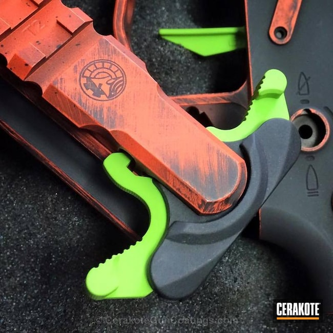 H-128 Hunter Orange with H-168 Zombie Green and H-146 Graphite Black