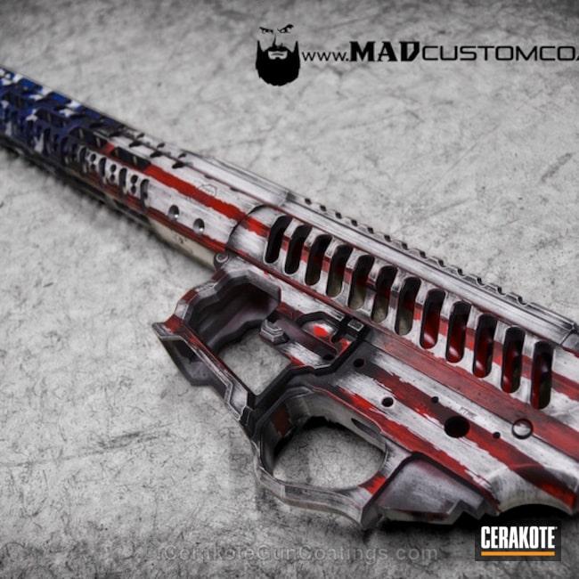 Mobile-friendly version of the 1st project picture. Graphite Black H-146Q, Distressed, American Flag, Battleworn, USA, War Torn, Smith & Wesson Red H-216, Sky Blue H-169Q, Snow White H-136Q, Merica, F1 Firearms