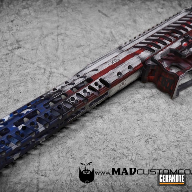 Thumbnail version of the 4th project picture. Graphite Black H-146Q, Distressed, American Flag, Battleworn, USA, War Torn, Smith & Wesson Red H-216, Sky Blue H-169Q, Snow White H-136Q, Merica, F1 Firearms