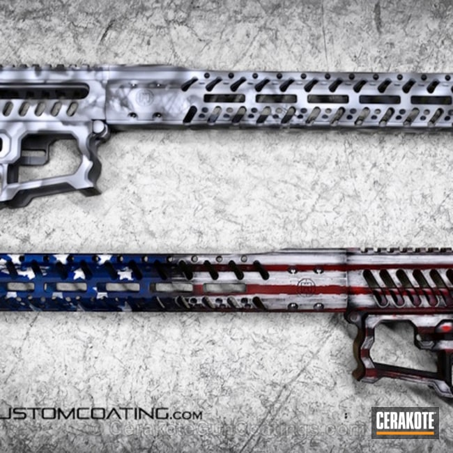 Mobile-friendly version of the 7th project picture. Graphite Black H-146Q, Distressed, American Flag, Battleworn, USA, War Torn, Smith & Wesson Red H-216, Sky Blue H-169Q, Snow White H-136Q, Merica, F1 Firearms