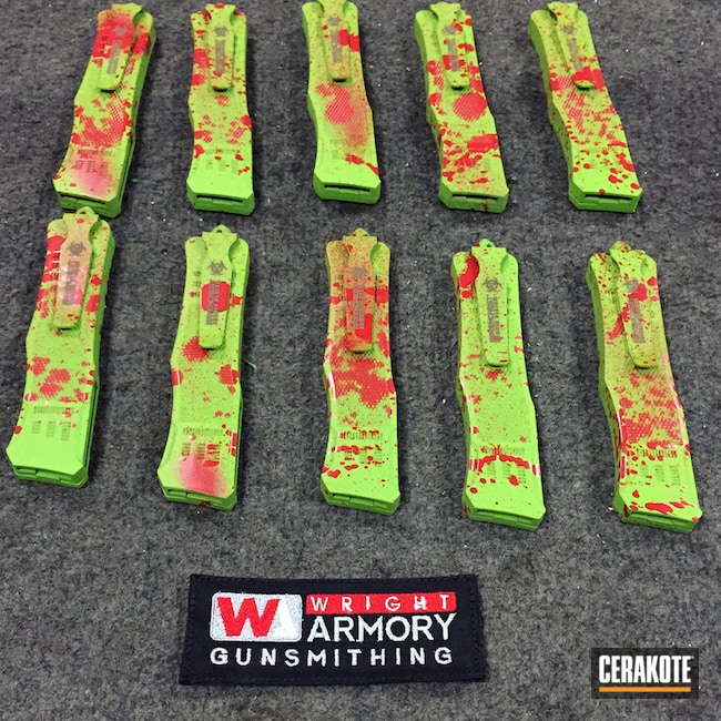 H-168 Zombie Green, H-216 Smith & Wesson Red and H-146 Graphite Black