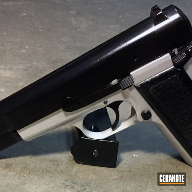 Big version of the 1st project picture. Browning, Pistol, 9mm, Browning Hi-Power, Satin Aluminum H-151Q, Gloss Black H-109Q