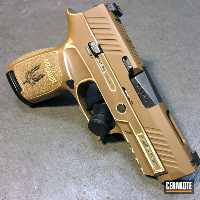 Mobile-friendly version of the 3rd project picture. Sig Sauer, Laser Engrave, Pistol, Desert Sand H-199Q, Troy Coyote Tan H-268Q, Sig P230