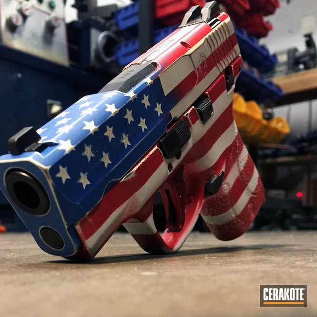 Cerakoted: Bright White H-140,9mm,Battleworn,M&P Shield 9mm,Distressed,Ridgeway Blue H-220,Pistol,American Flag,SMITH & WESSON® RED H-216,M&P Shield