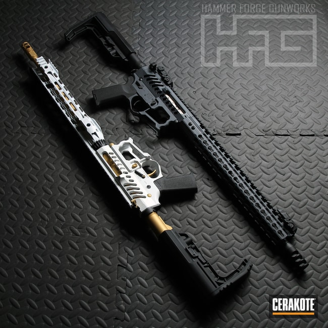H-136 Snow White with H-122 Gold, H-146 Graphite Black and H-234 Sniper Grey
