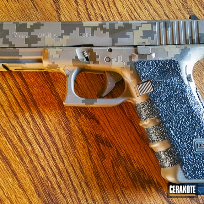 Smaller version of the 1st project picture. Glock, Glock 17, Pistol, Digital Camo, MagPul Flat Dark Earth H-267Q, Patriot Brown H-226Q, Coyote Tan H-235Q