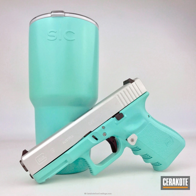 Thumbnail version of the 2nd project picture. Glock, Handgun, Glock 19, Pistol, Armor Black H-190Q, Satin Aluminum H-151Q, Robin's Egg Blue H-175Q