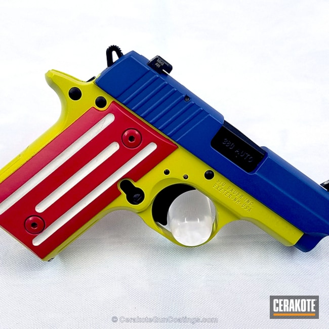 "Thumbnail image for project ""H-146 Graphite Black, H-216 Smith & Wesson Red, H-220 Ridgeway Blue, H-140 Bright White, H-144 Corvette Yellow and H-168 Zombie Green"""