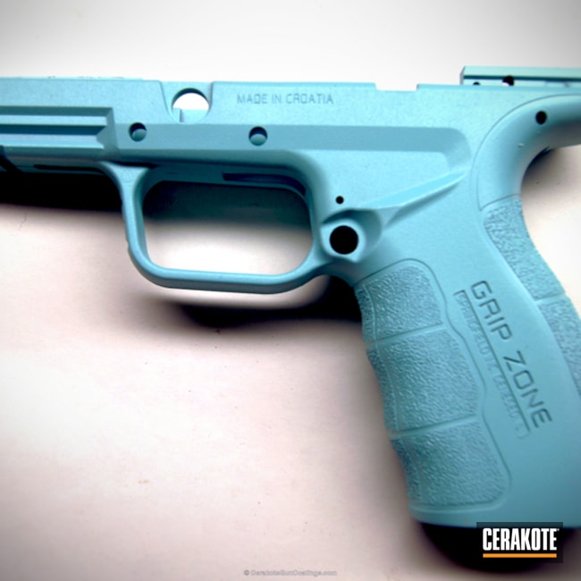 Big version of the 2nd project picture. Springfield, Gun Parts, Receiver, Robin's Egg Blue H-175Q