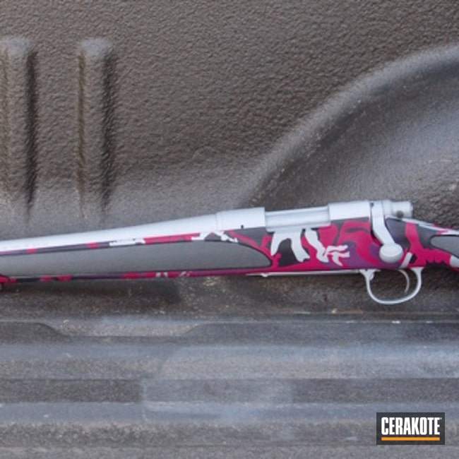 Smaller version of the 2nd project picture. Graphite Black H-146Q, Remington, Custom Camo, Remington 700, Bolt Action Rifle, Muddy Girl, Crushed Silver H-255Q, Sig Pink H-224Q, Wild Purple H-197