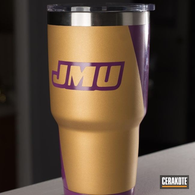 Mobile-friendly version of the 1st project picture. Yeti, Gold H-122Q, Wild Purple H-197, Custom Logo, Hunter Orange H-128Q, Custom Tumbler Cup, jmu