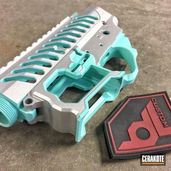 Cerakoted: Upper / Lower,Receiver,Robin's Egg Blue H-175,F1 Firearms,Satin Aluminum H-151,Gun Parts
