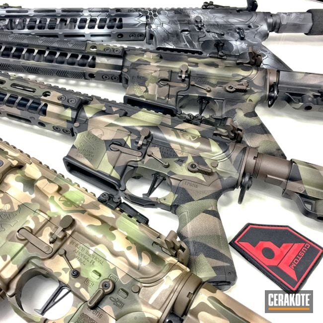 Big version of the 1st project picture. Graphite Black H-146Q, Spike's Tactical, Kryptek, Camo, MultiCam, Tactical Rifle, Desert Sand H-199Q, Patriot Brown H-226Q, MultiCam Green H-204Q, Splinter Camo