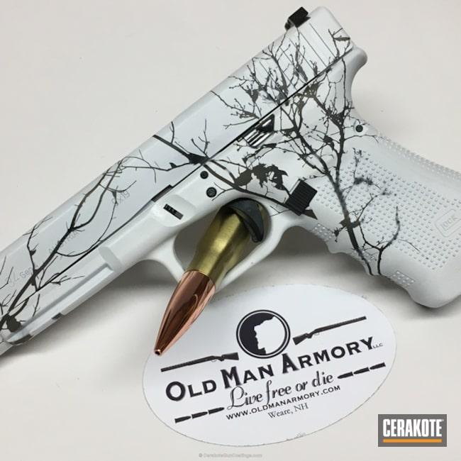 Cerakoted: Bright White H-140,MAGPUL® FLAT DARK EARTH H-267,Glock 34,Graphite Black H-146,Camo,Pistol,Glock,Custom Camo,Winter Camo,Snow Camo,Snow