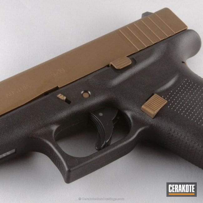 Smaller version of the 2nd project picture. Glock, Pistol, Burnt Bronze H-148Q, Glock 43, Tactical Pistol