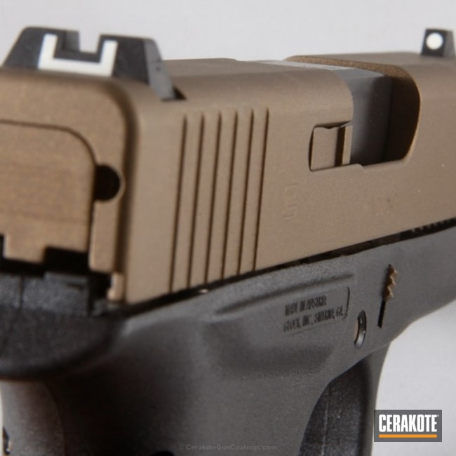 Smaller version of the 1st project picture. Glock, Pistol, Burnt Bronze H-148Q, Glock 43, Tactical Pistol