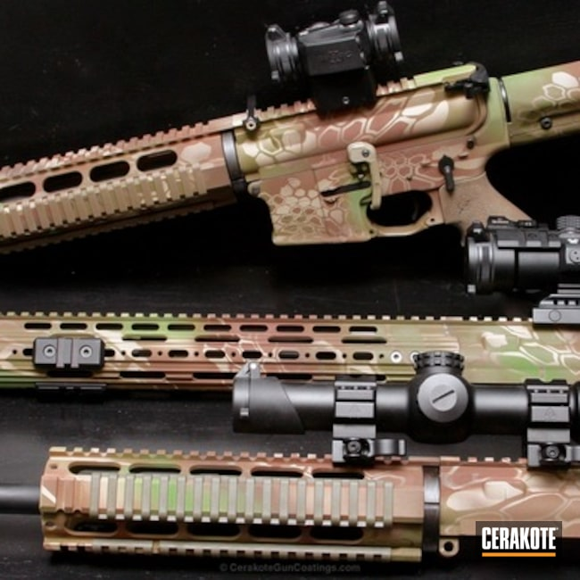Mobile-friendly version of the 9th project picture. Kryptek, Custom Camo, Tactical Rifle, Scales, Zombie Green H-168Q, Chocolate Brown H-258Q, Benelli Sand H-143Q, Noveske Bazooka Green H-189Q, ASH Tactical