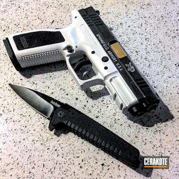 Cerakoted H-140 Bright White, H-122 Gold And H-146 Graphite Black