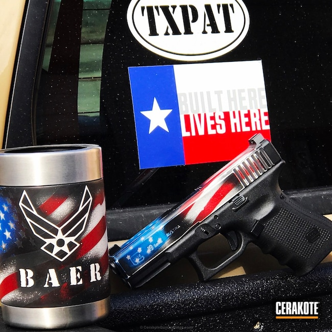 Cerakoted: Bright White H-140,Cups and Guns,Texas Cerakote,Ridgeway Blue H-220,Crimson H-221,Glock,American Flag,Coozie