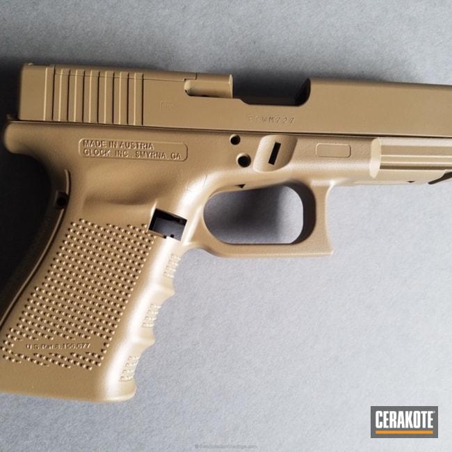 Cerakoted: Glock 19,9mm,Coyote Tan H-235,Glock 19 MOS,Solid Tone,Pistol,Glock,Glock Gen 4,Ladies