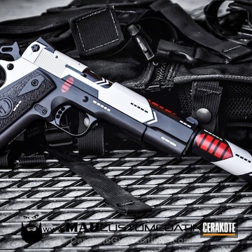 Cerakoted H-146 Graphite Black, H-167 Usmc Red And H-140 Bright White