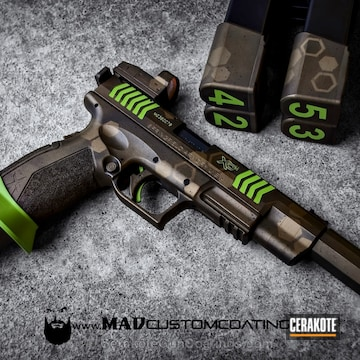 Cerakoted H-148 Burnt Bronze With H-168 Zombie Green And H-146 Graphite Black