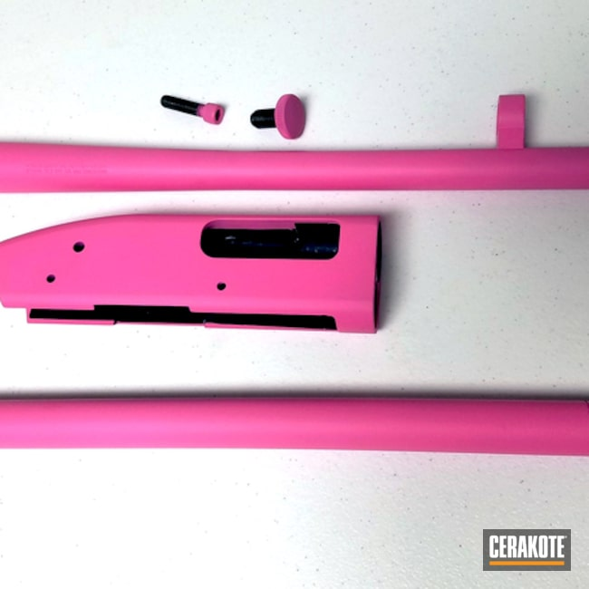 Thumbnail version of the 2nd project picture. Mossberg, Shotgun, Ladies, Prison Pink H-141Q, Gold H-122Q, 12ga., Maverick 88