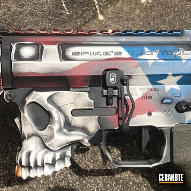 Cerakoted: Bright White H-140,Spike's Tactical The Jack,Spike's Tactical,Crimson H-221,Sharps Brothers,Ridgeway Blue H-220,Tactical Rifle,American Flag,Team America Theme,Gold H-122