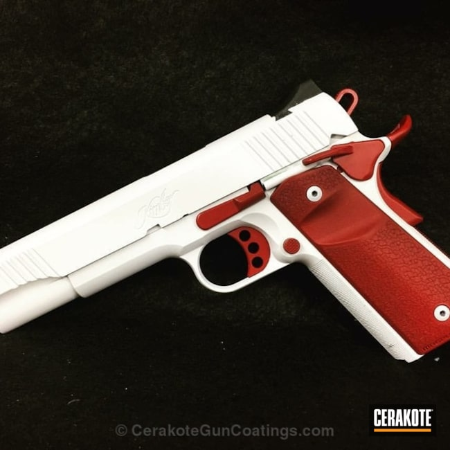 Cerakoted: Bright White H-140,Kimber 1911,Kimber,Two Tone,Crimson H-221,Pistol,Gun Coatings,1911
