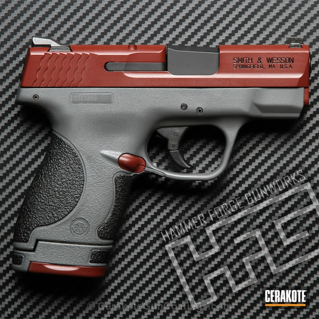 Cerakoted: Custom Mix,Cerakote Elite Series,Kydex Holster,Two Tone,Crimson H-221,Holster,Shield,Pistol,Smoke E-120,M&P Shield 9mm,Graphite Black H-146,Smith & Wesson,Concrete E-160,Concrete E-160G,M&P Shield
